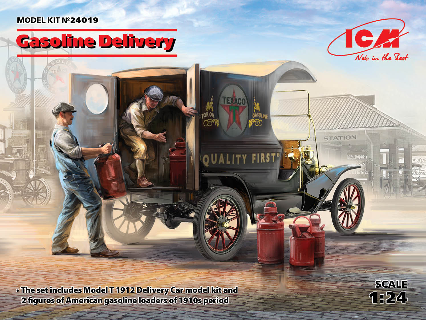 ICM 1/24 Gasoline Delivery, Model T 1912 Delivery Car with American Gasoline Loaders
