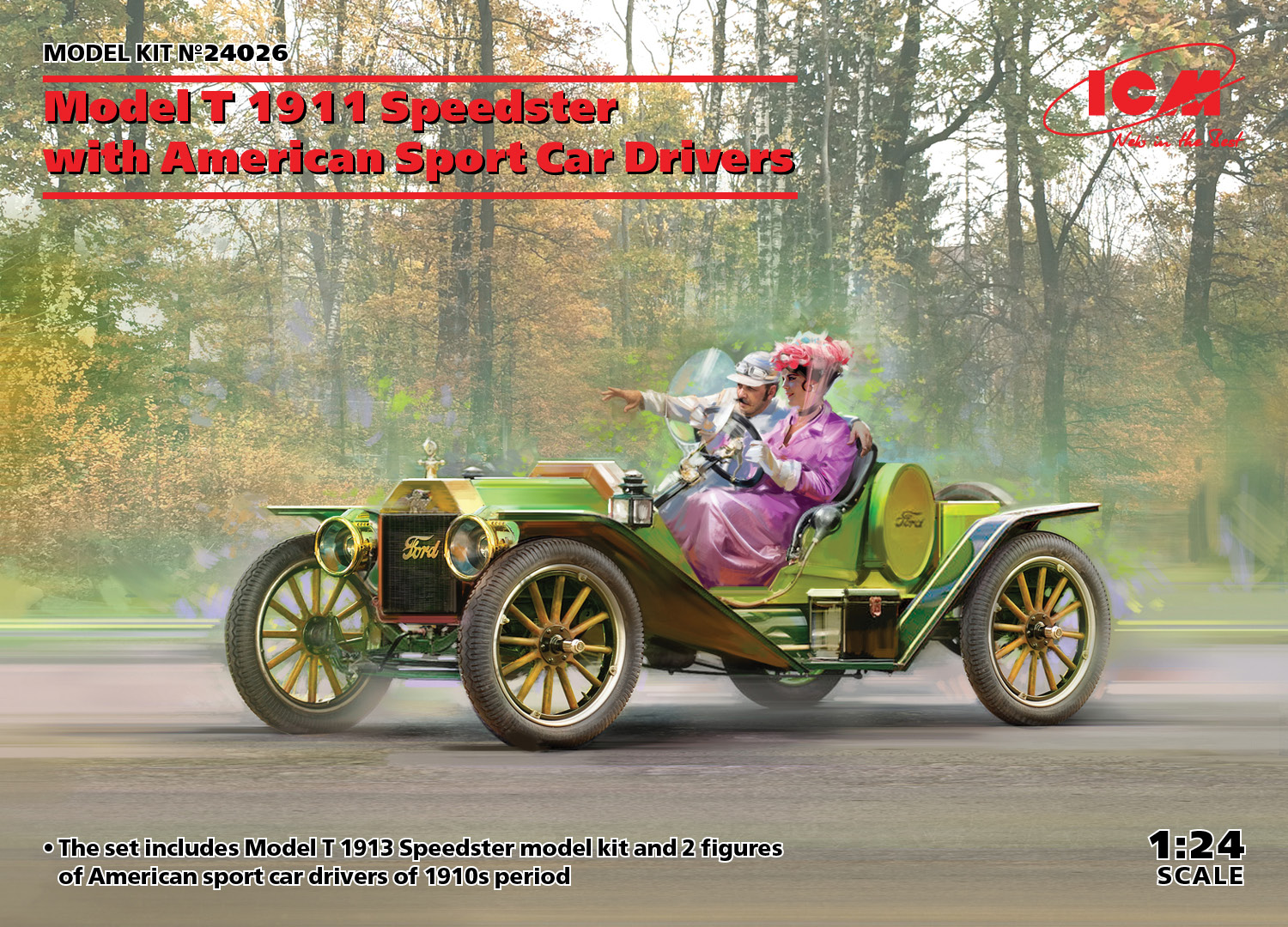 ICM Model T 1913 Speedster with American Sport Car Drivers 1/24 Scale