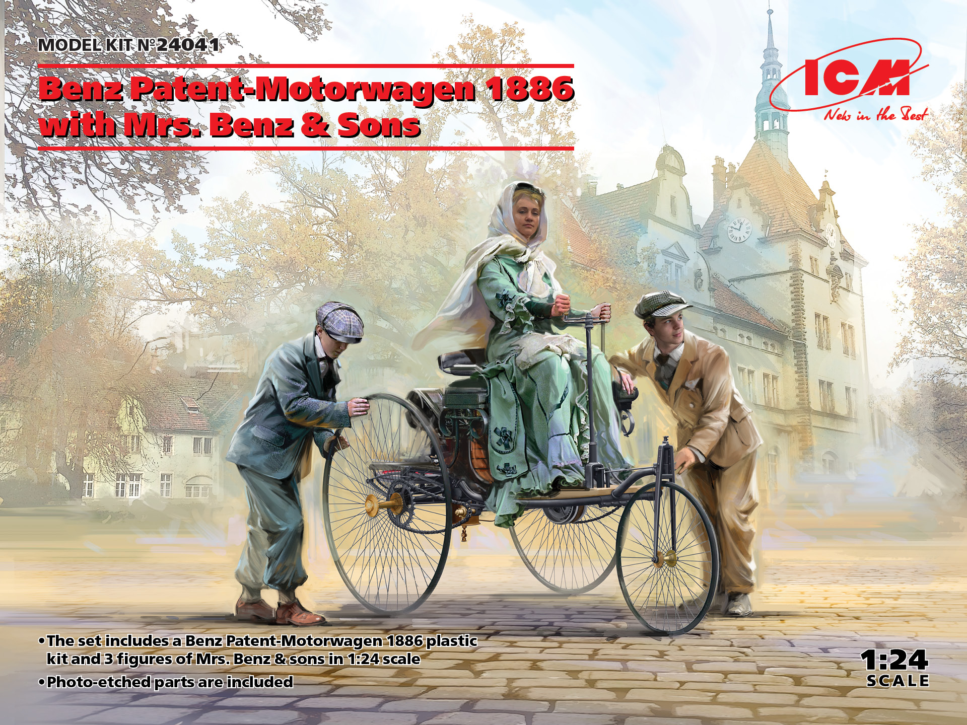 ICM Benz Patent-Motorwagen 1886 with Mrs. Benz & Sons 1/24 Scale