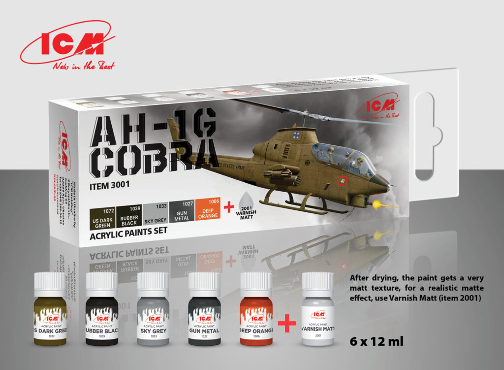 ICM Acrilyc paint set for AH-1G Cobra (early production), US Attack Helicopter