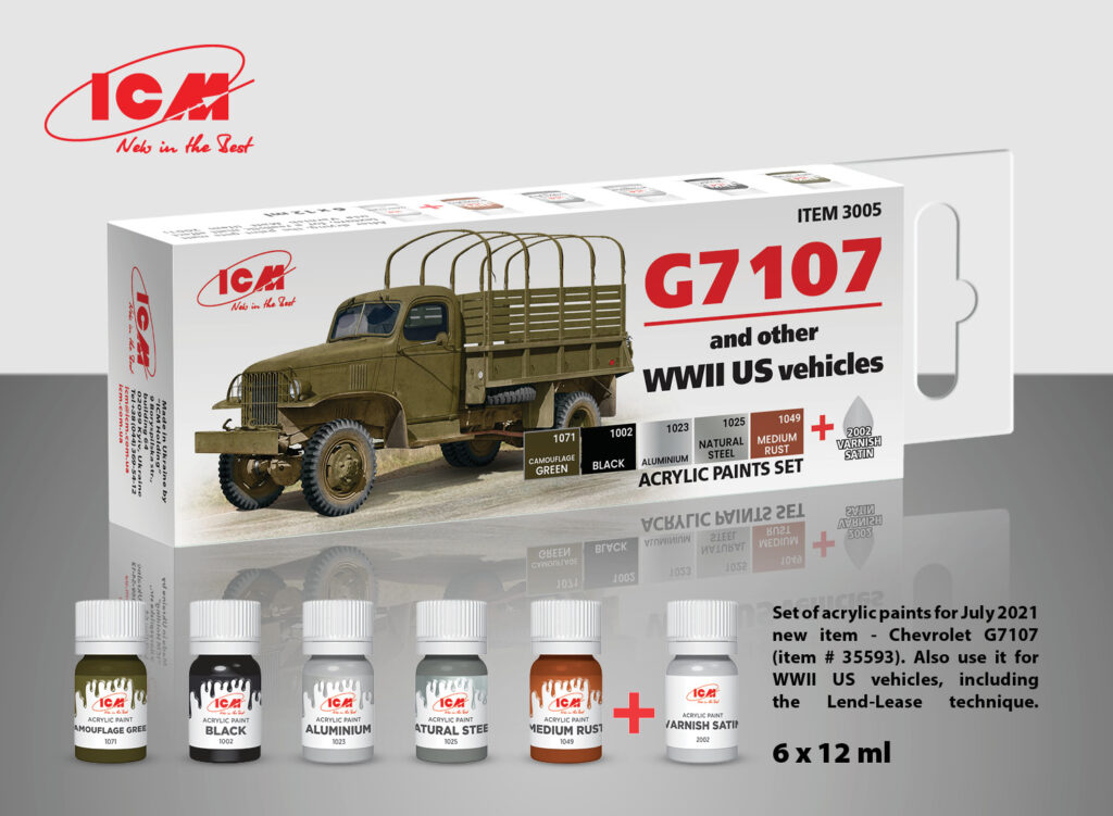ICM Set of 6 Acrylic Paint Set for G7107 (and other WW2 US vehicles)