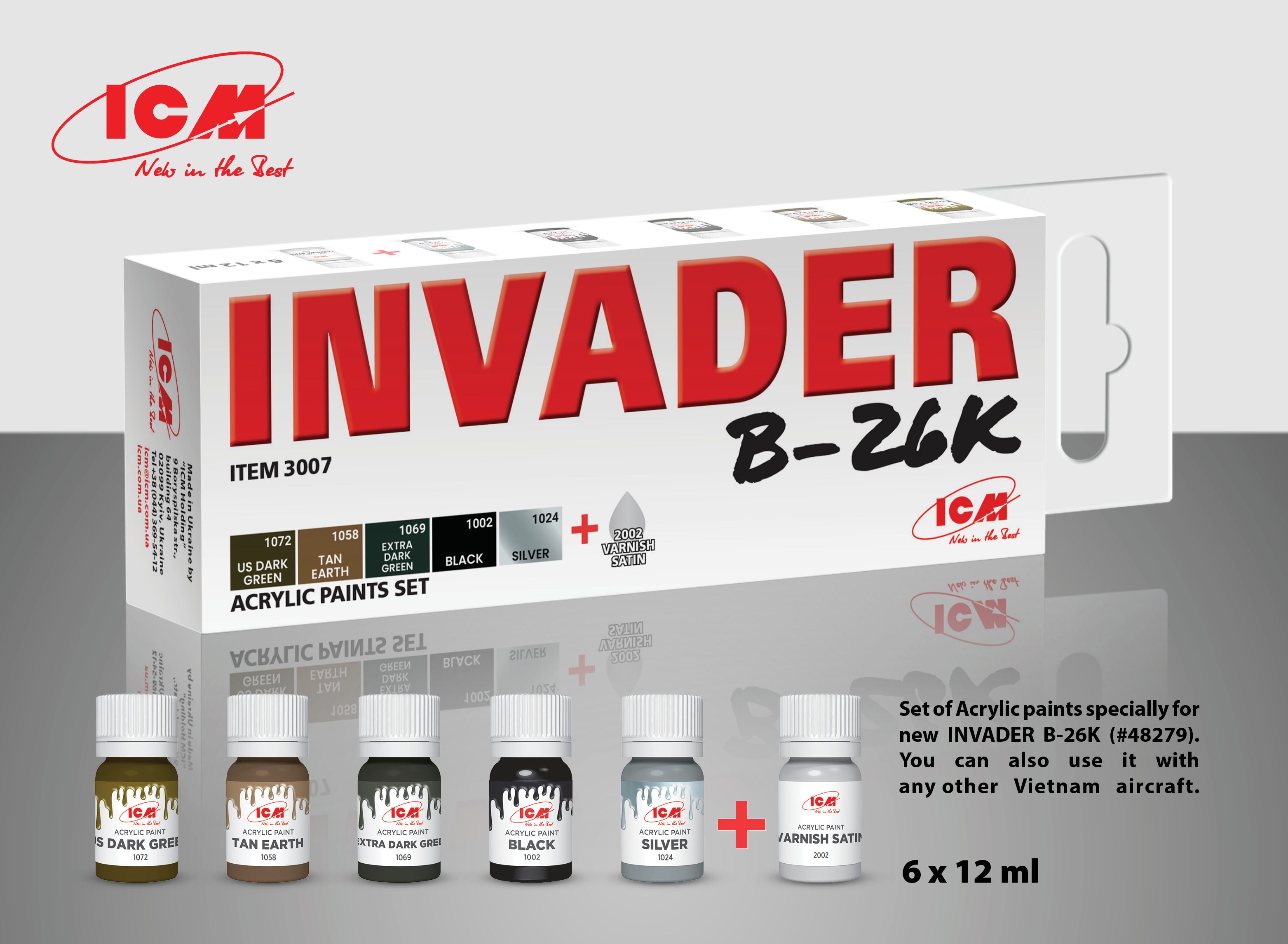 ICM Set of 6 Acrylic paint set for Invader B-26K (and other Vietnam aircraft)