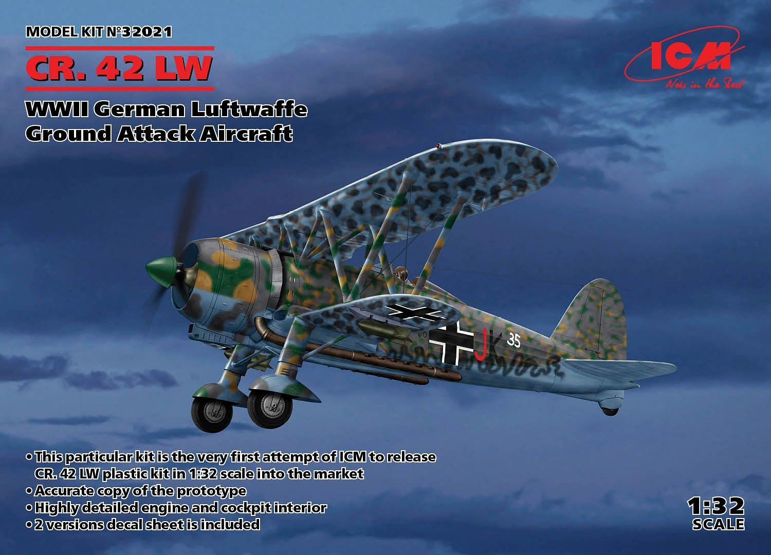 ICM CR. 42 LW , WWII German Luftwaffe Ground Attack Aircraft (100% new molds)
