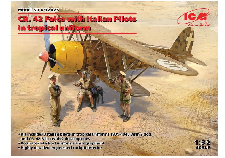 ICM 1/32 CR. 42 Falco with Italian Pilots in tropical uniform