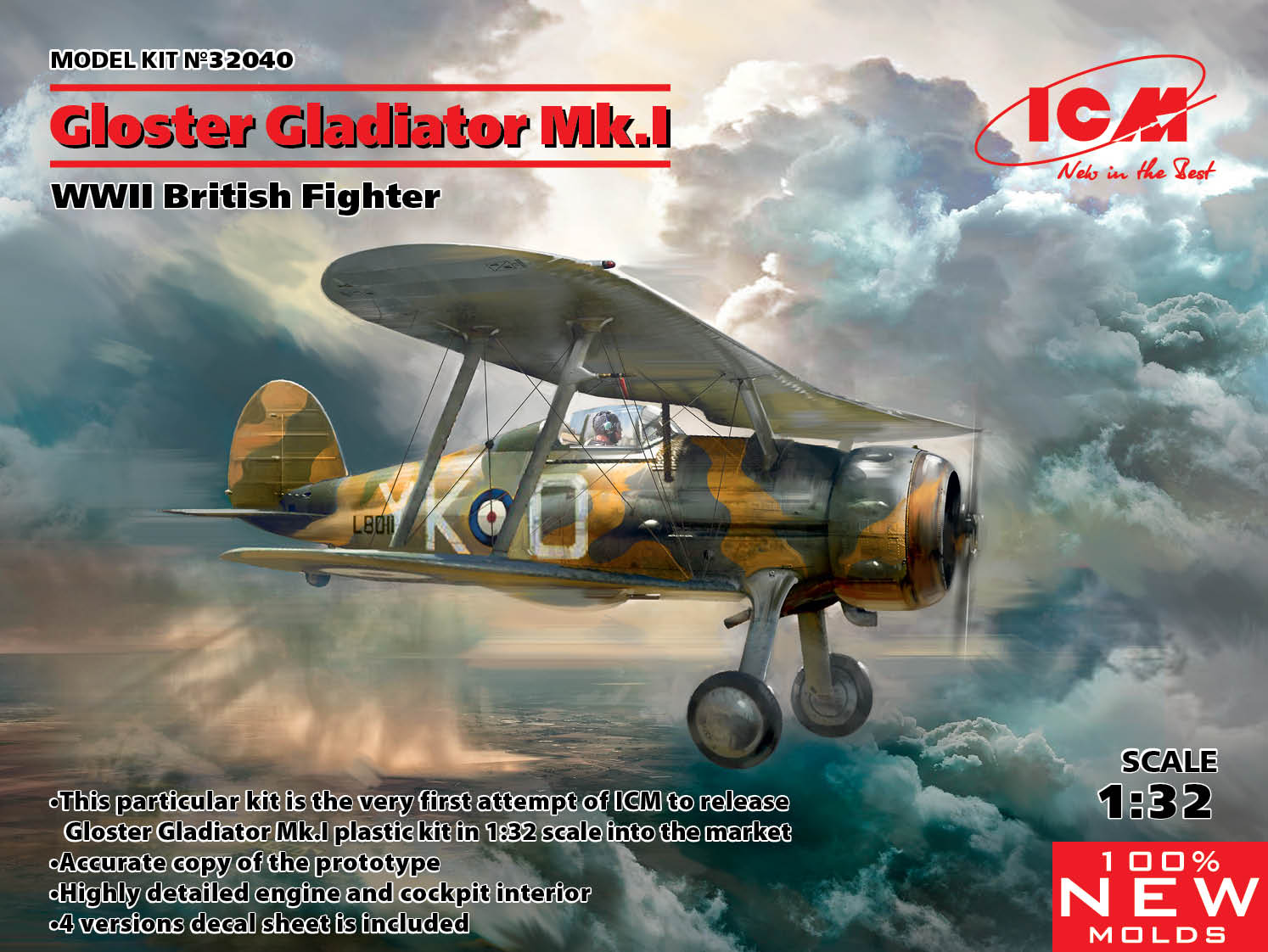 ICM Gloster Gladiator Mk.I, WWII British Fighter (100% new molds)