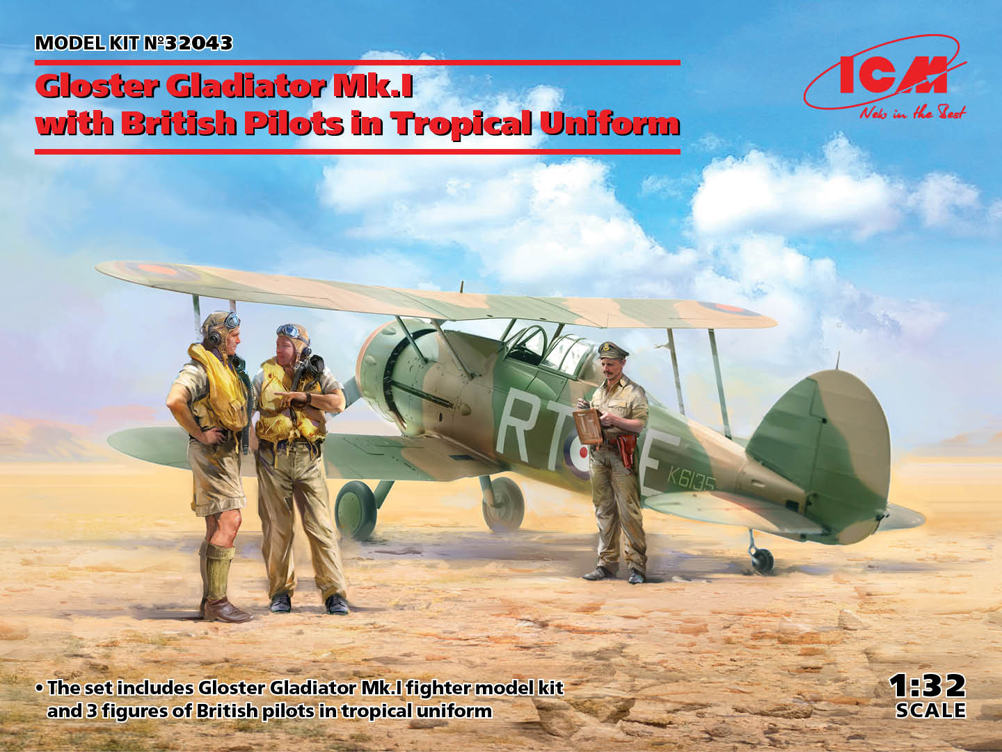 Gloster Gladiator Mk.I with British Pilots in Tropical Uniform