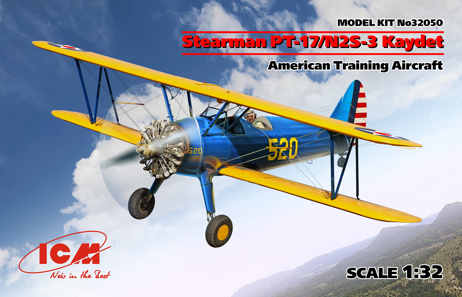 ICM Stearman PT-17/N2S-3 Kaydet , American Training Aircraft 1/32 Scale