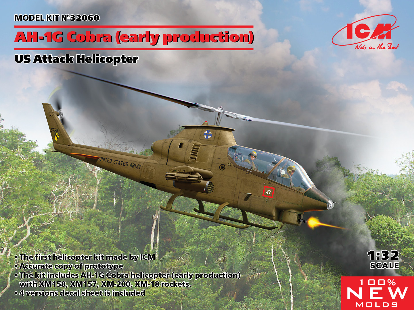 ICM 1/32 AH-1G Cobra (early production), US Attack Helicopter (100% new molds)