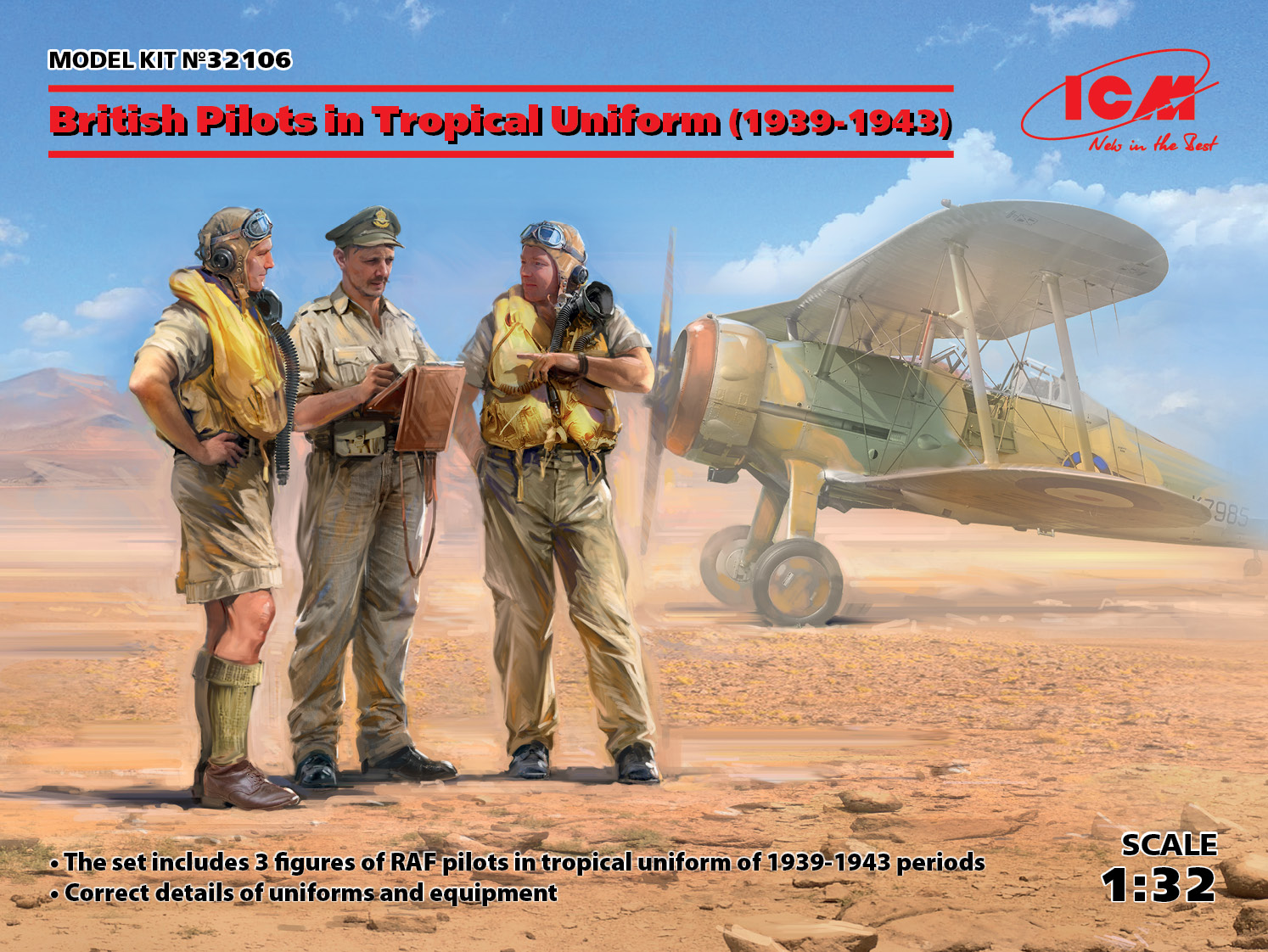 ICM British Pilots in Tropical Uniform (1939-1943) (3 figures) (100% new molds)