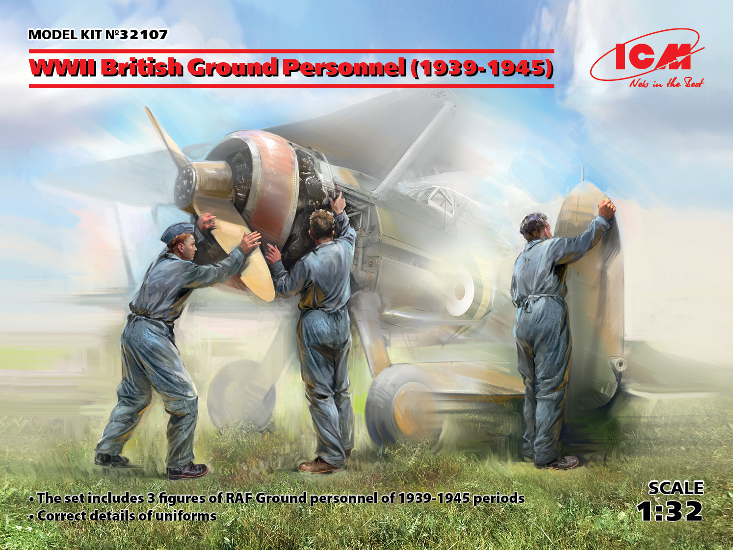 ICM WWII British Ground Personnel (1939-1945) (3 figures) (100% new molds)