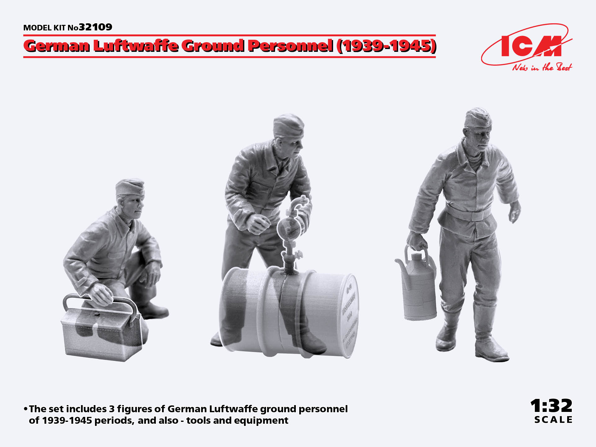 ICM German Luftwaffe Ground Personnel (1939-1945) (3 figures) (100% new molds)