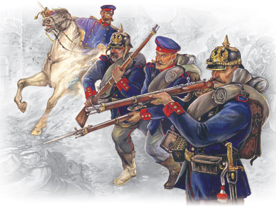 ICM Prussian Line Infantry (1870-1871) (4 figures - officer on horse, 3 soldiers)