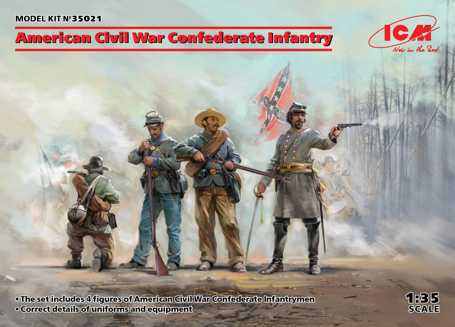 ICM American Civil War Confederate Infantry (new molds) 1/35 Scale