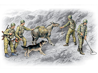 ICM Soviet Sappers (1979-1988) (4 figures - 3 soldiers, 1 sapper, donkey figure, dog figure)