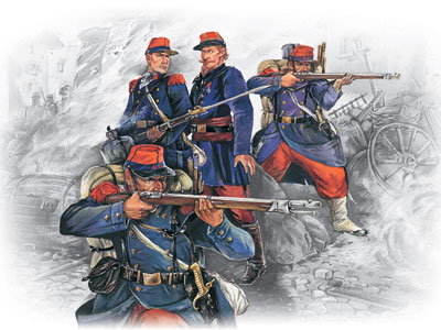 ICM 1/35 French Line Infantry (1870-1871) (4 figures - 1 officer, 3 soldiers)