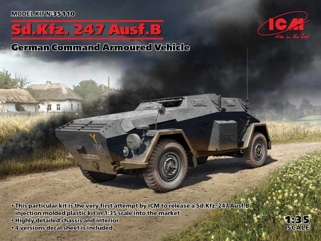 ICM 1/35 Sd.Kfz. 247 Ausf.B, German Command Armoured Vehicle (100% new molds)