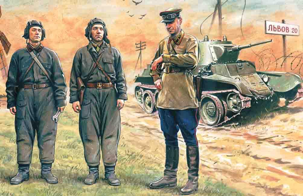 ICM Soviet Tank Crew (1939-1942)    (3 figures - 1 officer, 2 tankmen)