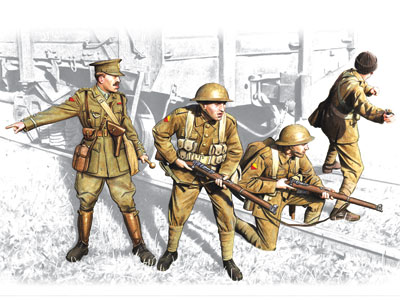 ICM British Infantry (1917-1918) (4 figures - 1 officer, 3 soldiers)