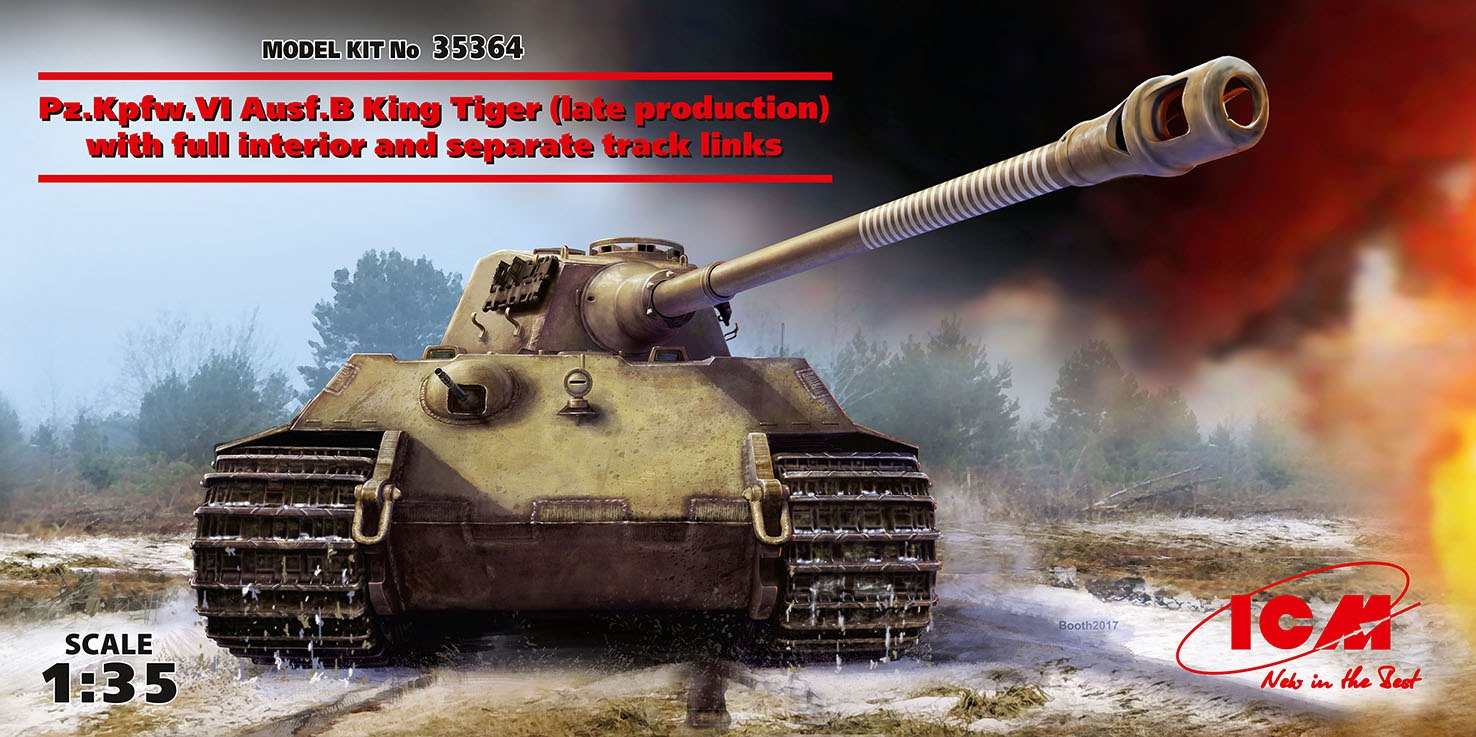ICM Pz.Kpfw.VI Ausf.B King Tiger (late production) with full interior, WWII German Heavy Tank