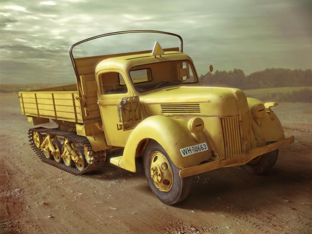 ICM V3000S/SS M (Sd.Kfz.3b) Maultier, WWII German Semi-Tracked Truck