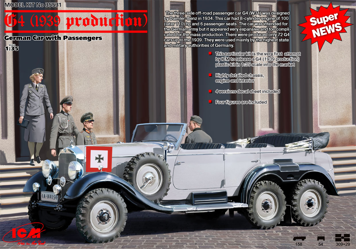 ICM G4 (1939 production), German Car with Passengers (4 figures)