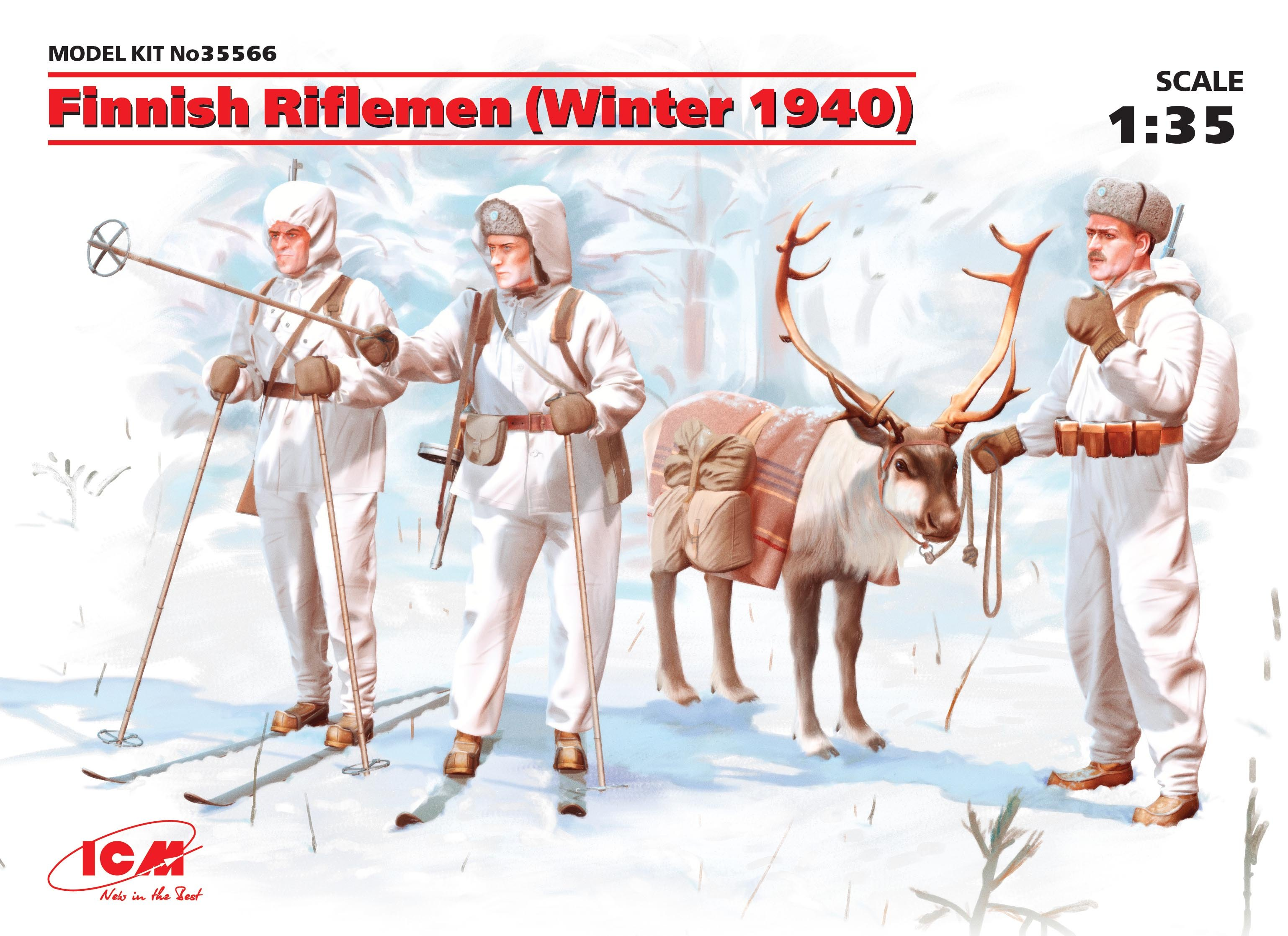 ICM Finnish Riflemen (Winter 1940) (4 figures - 3 rifleman, 1 reindeer)
