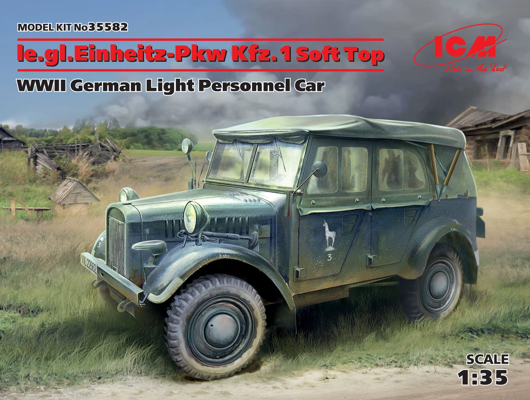ICM le.gl.Einheitz-Pkw Kfz.1 Soft Top, WWII German Light Personnel Car