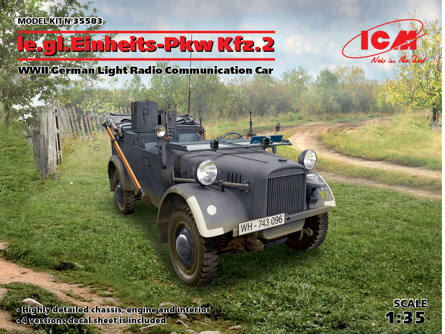 ICM le.gl.Einheitz-Pkw Kfz.2, WWII German Light Radio Communication Car