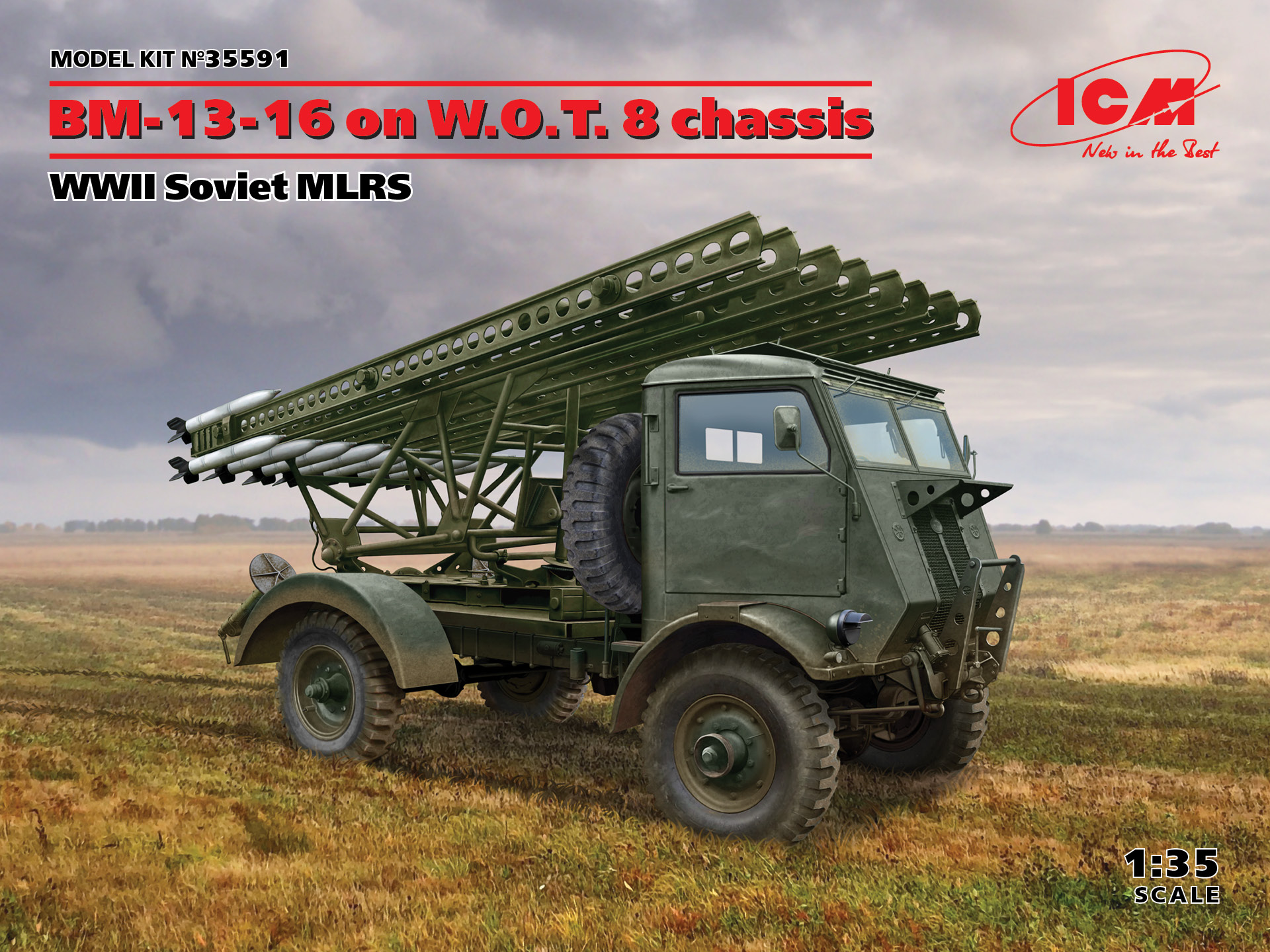 ICM BM-13-16 on W.O.T. 8 chassis, WWII Soviet MLRS 1/35 Scale