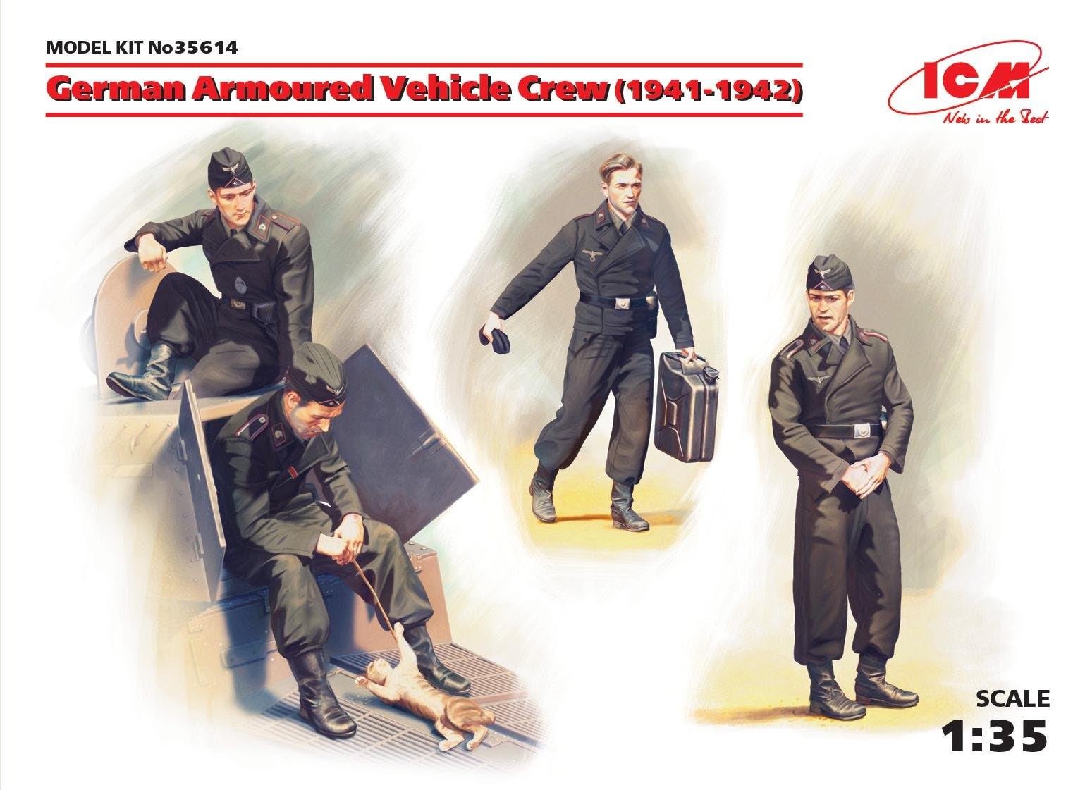ICM German Armoured Vehicle Crew (1941-1942) (4 figures and cat)