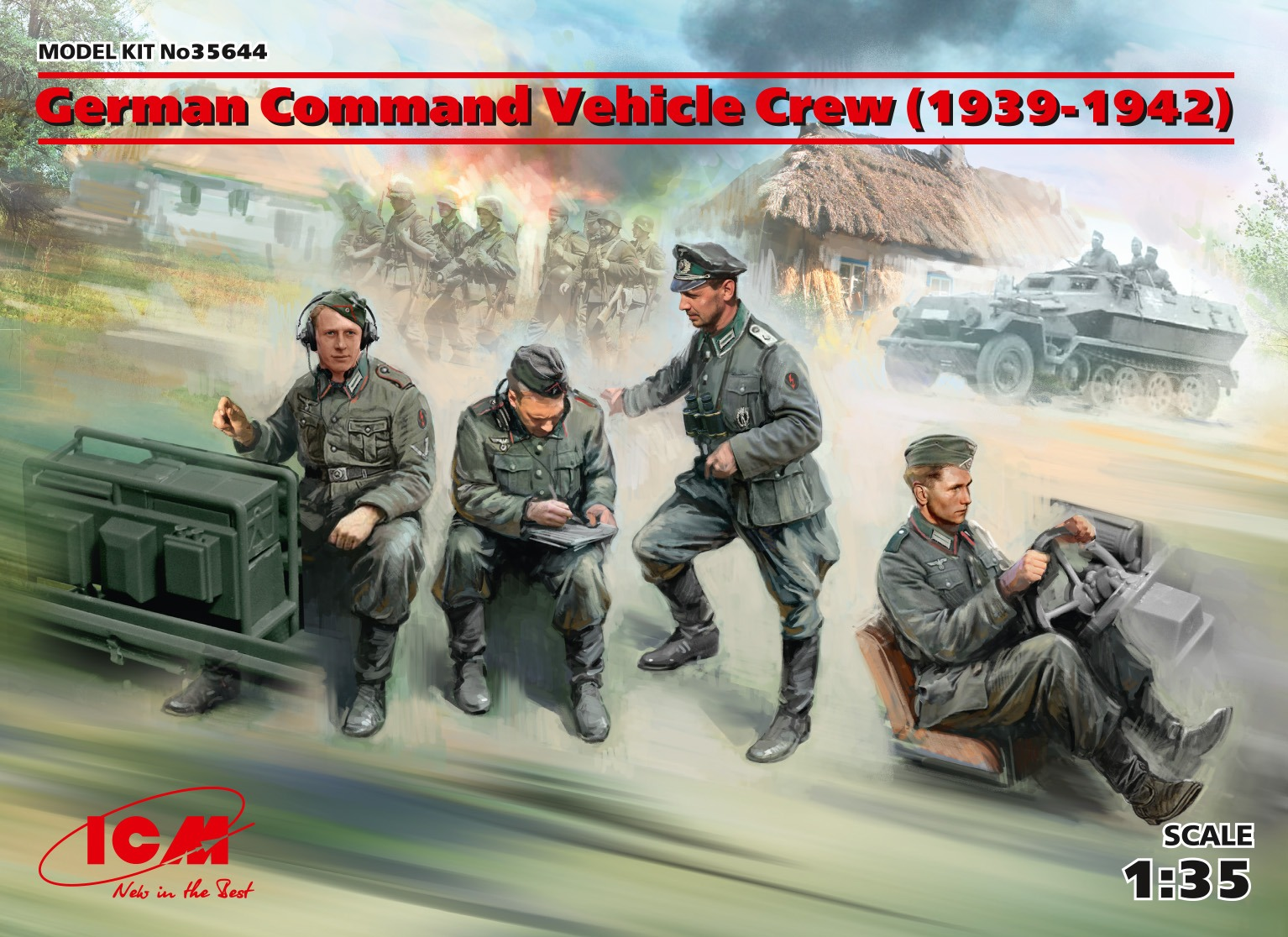 ICM German Command Vehicle Crew (1939-1942) (4 figures) (100% new molds)