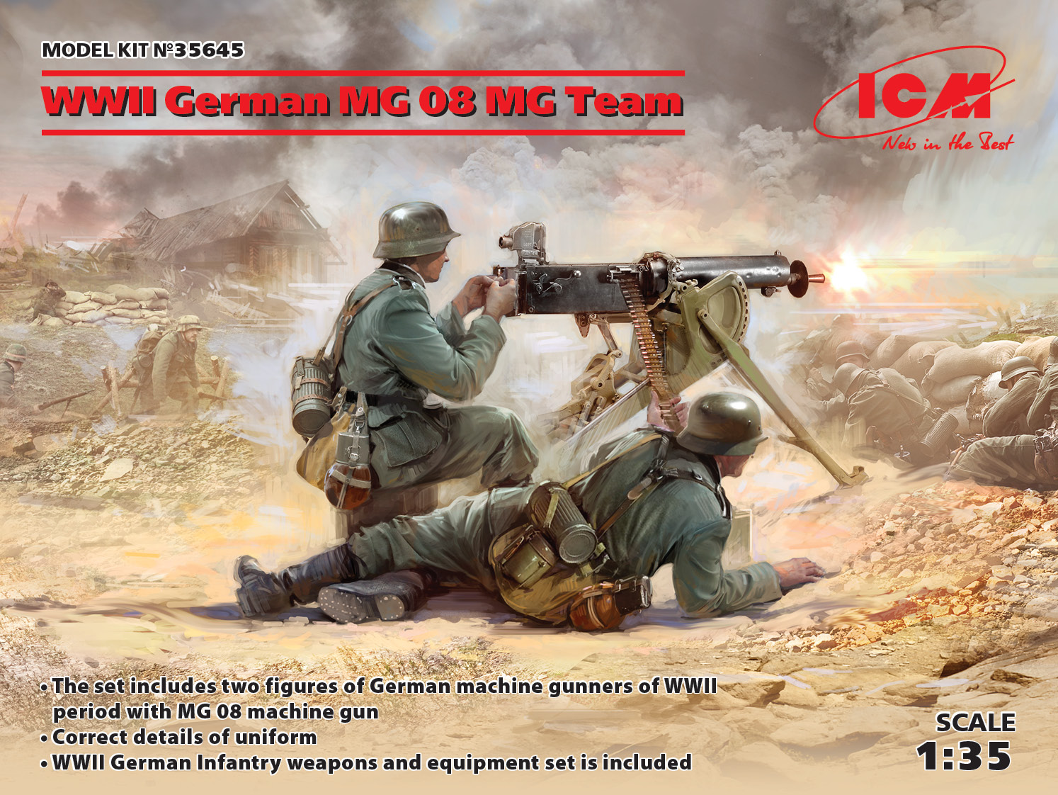 ICM WWII German MG08 MG Team (2 figures) (100% new molds)