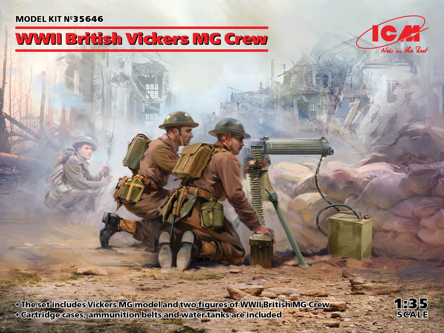 WWII British Vickers MG Crew (Vickers MG & 2 figures) (100% new molds)