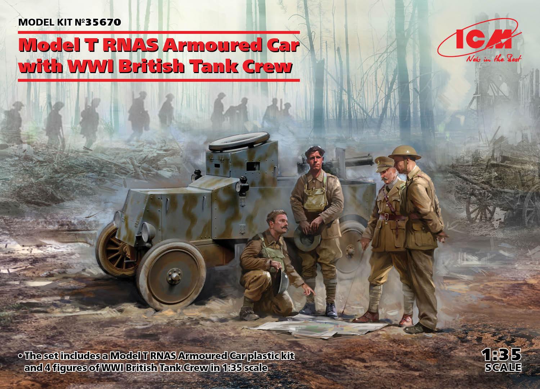 ICM Model T RNAS Armoured Car with WWI British Tank Crew