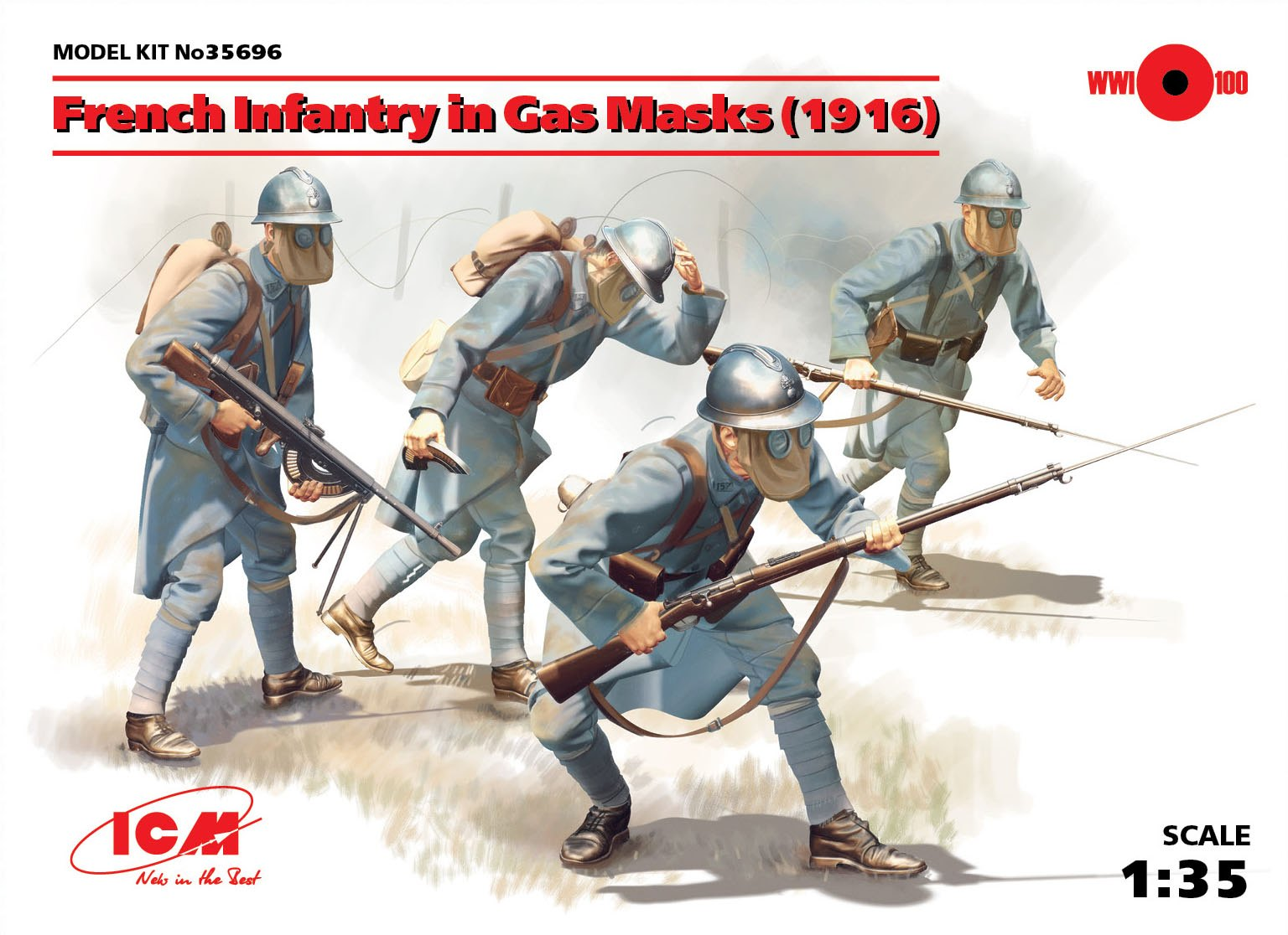 ICM French Infantry in Gas Masks (1918) (4 figures)