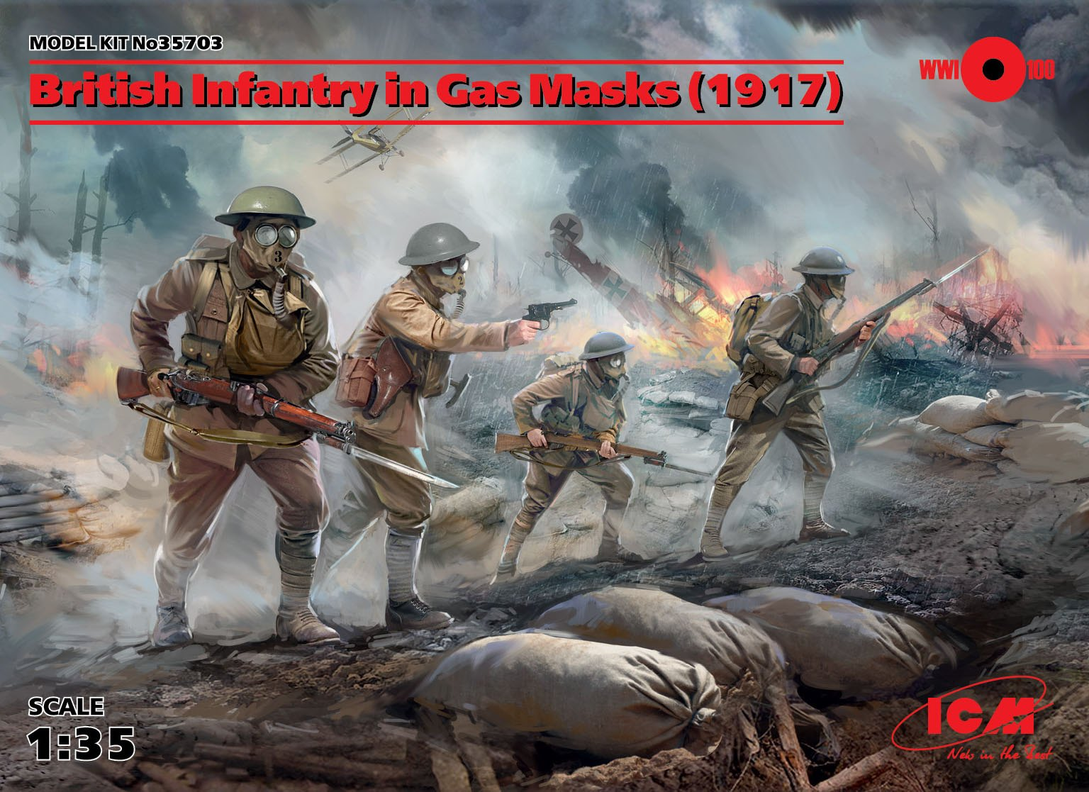 ICM British Infantry in Gas Masks (1917) (4 figures)