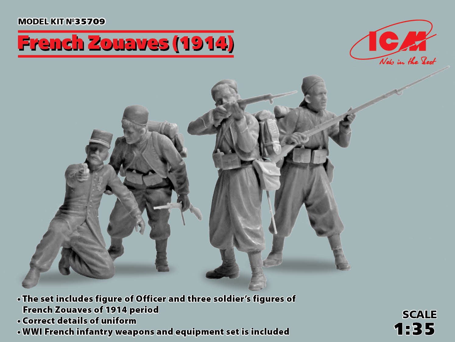 ICM French Zouaves (1914) (4 figures)  (100% new molds)