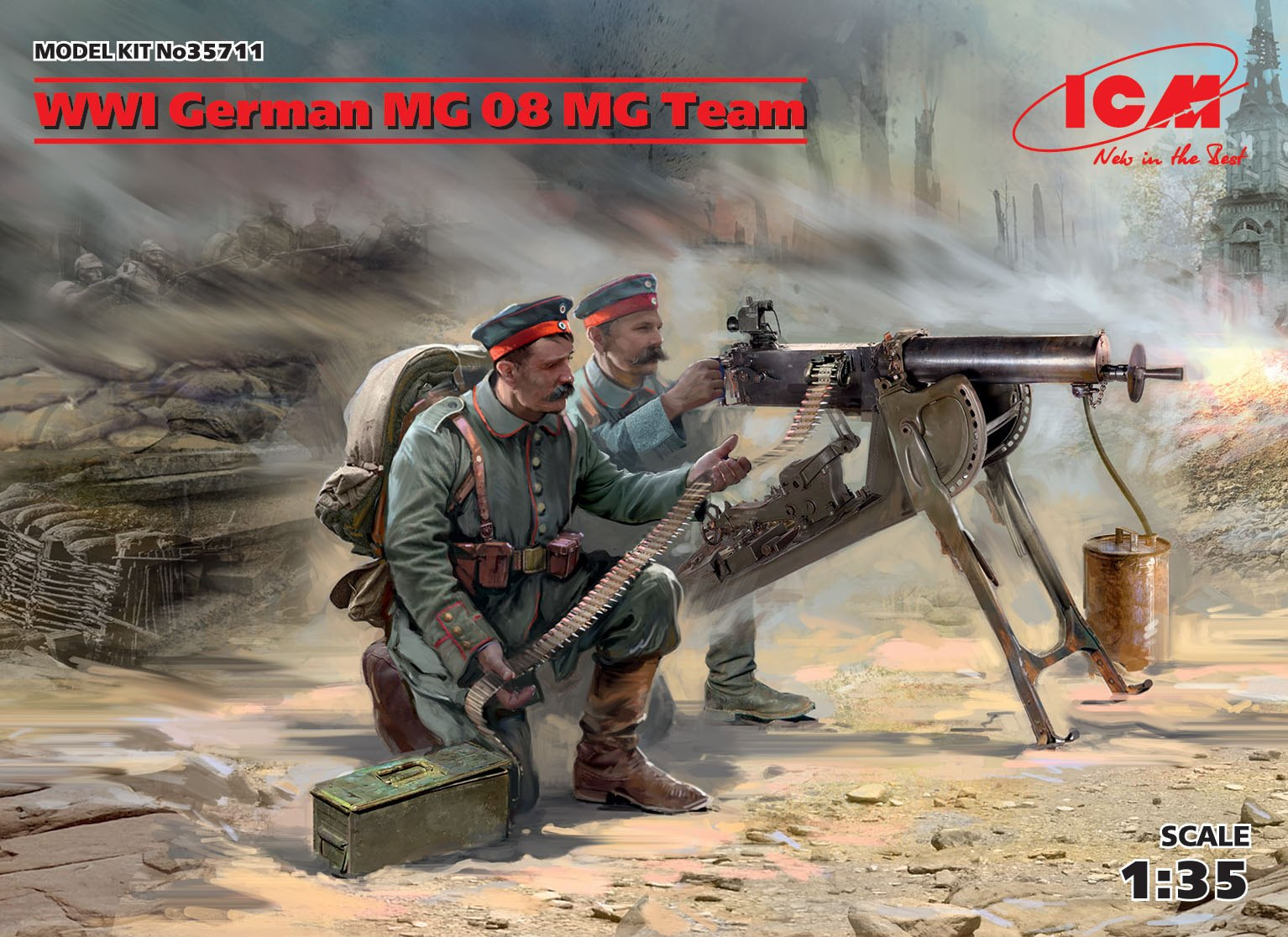 ICM WWI German MG08 MG Team (2 figures) (100% new molds)