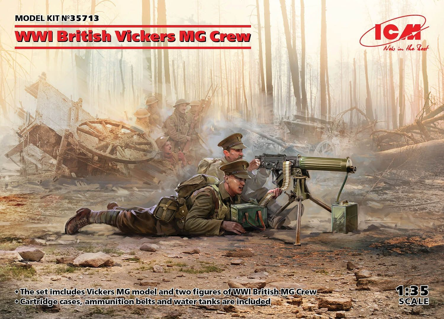 ICM WWI British Vickers MG Crew (Vickers MG & 2 figures) (100% new molds)