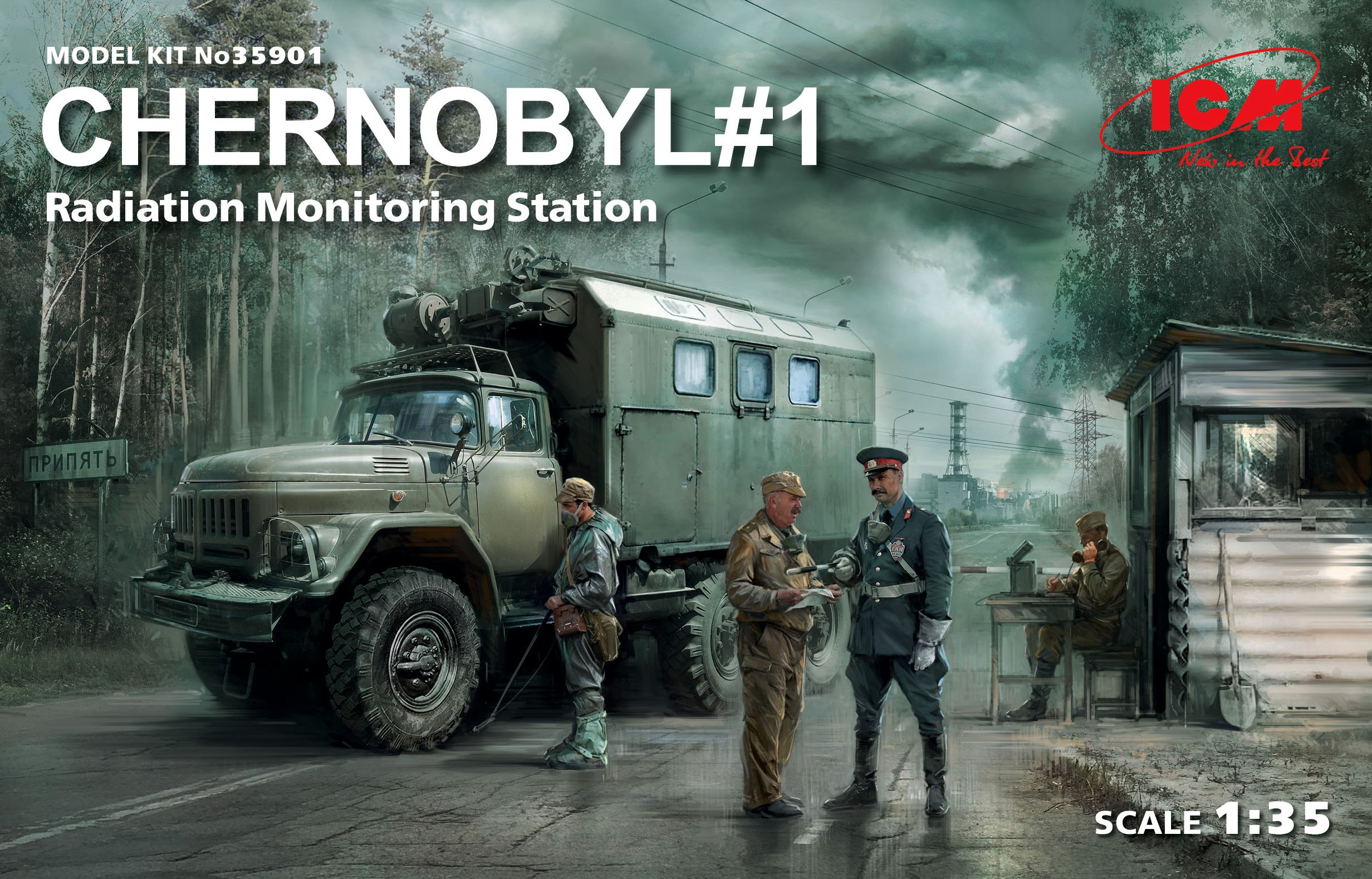 ICM Chernobyl#1. Radiation Monitoring Station (ZiL-131KShM truck & 5 figures & diorama base with background)