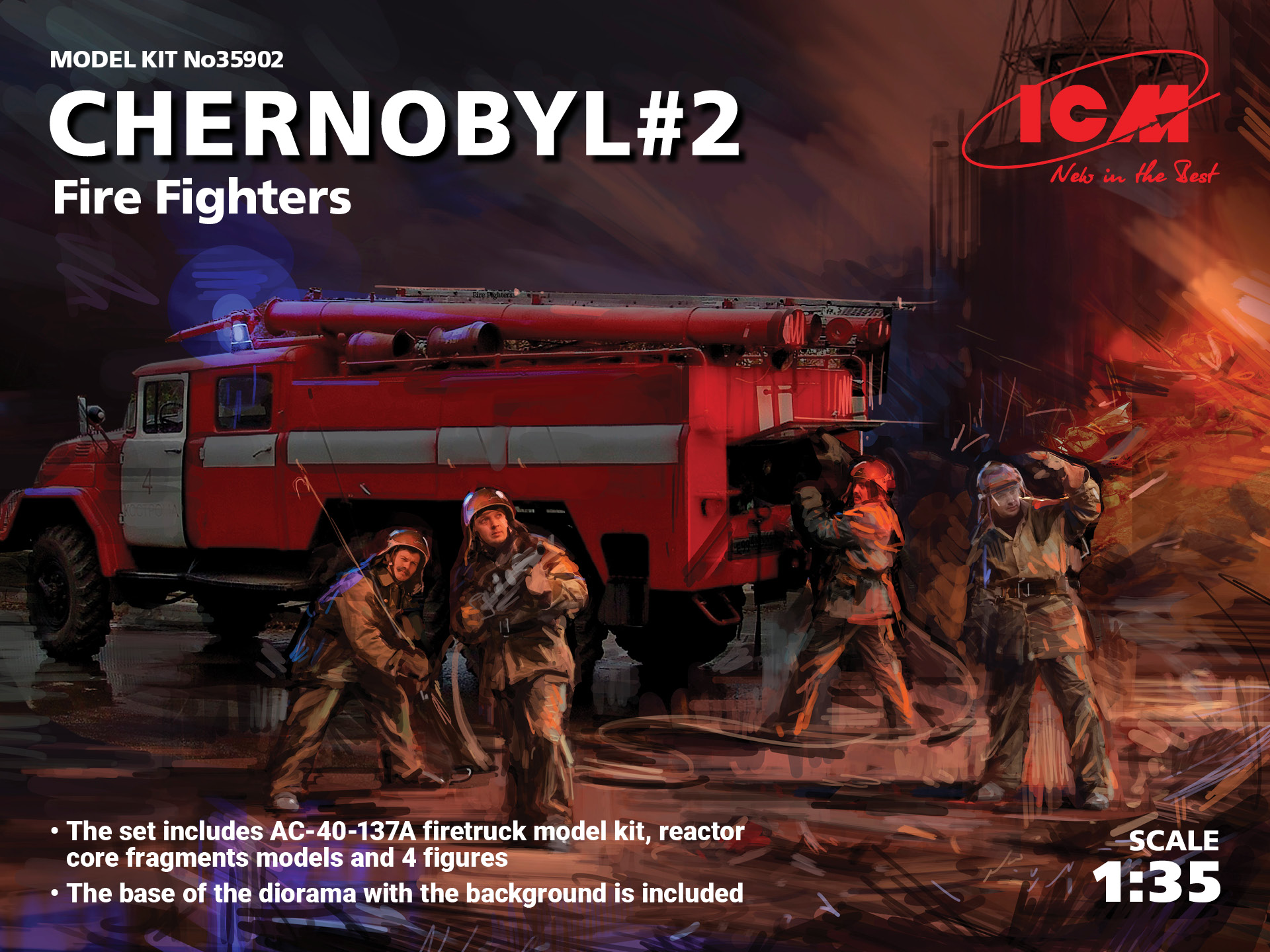 ICM Chernobyl#2. Fire Fighters (AC-40-137A firetruck & 4 figures & diorama base with background)