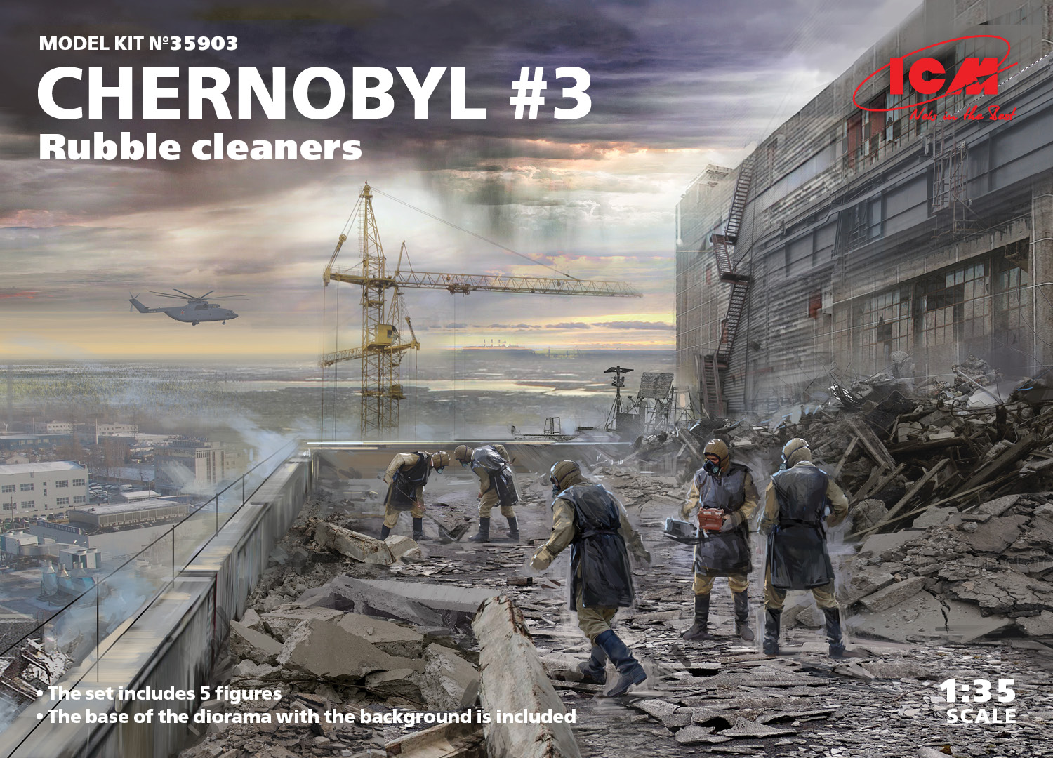 ICM Chernobyl#3. Rubble cleaners (5 figures) 1/35 Scale