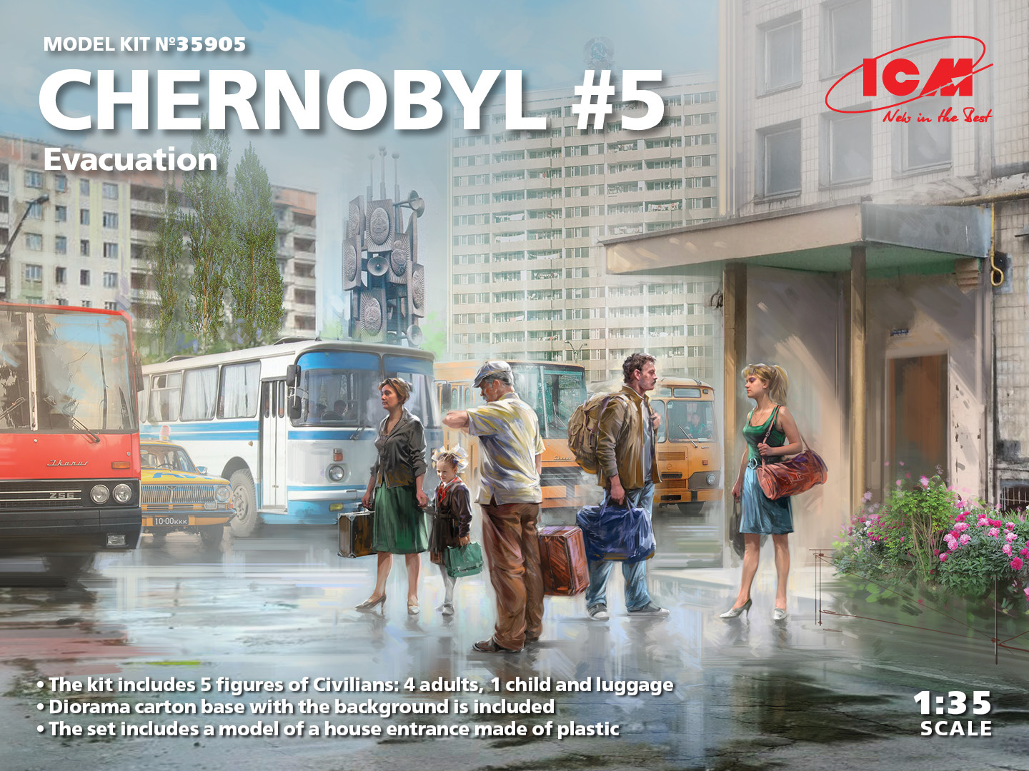 ICM 1/35 Chernobyl#5. Extraction (4 adults, 1 child and luggage) (100% new molds)