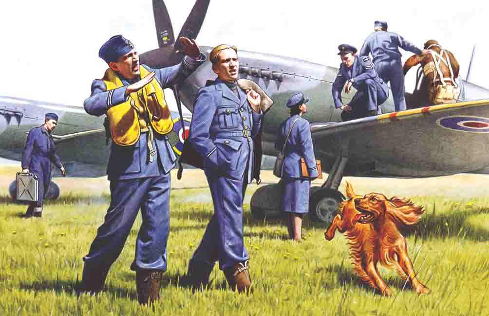 ICM RAF Pilots and Ground Personnel (1939-1945)  (7 figures - 3 pilots, 3 mechanics, 1 WREN member, and dog figure)