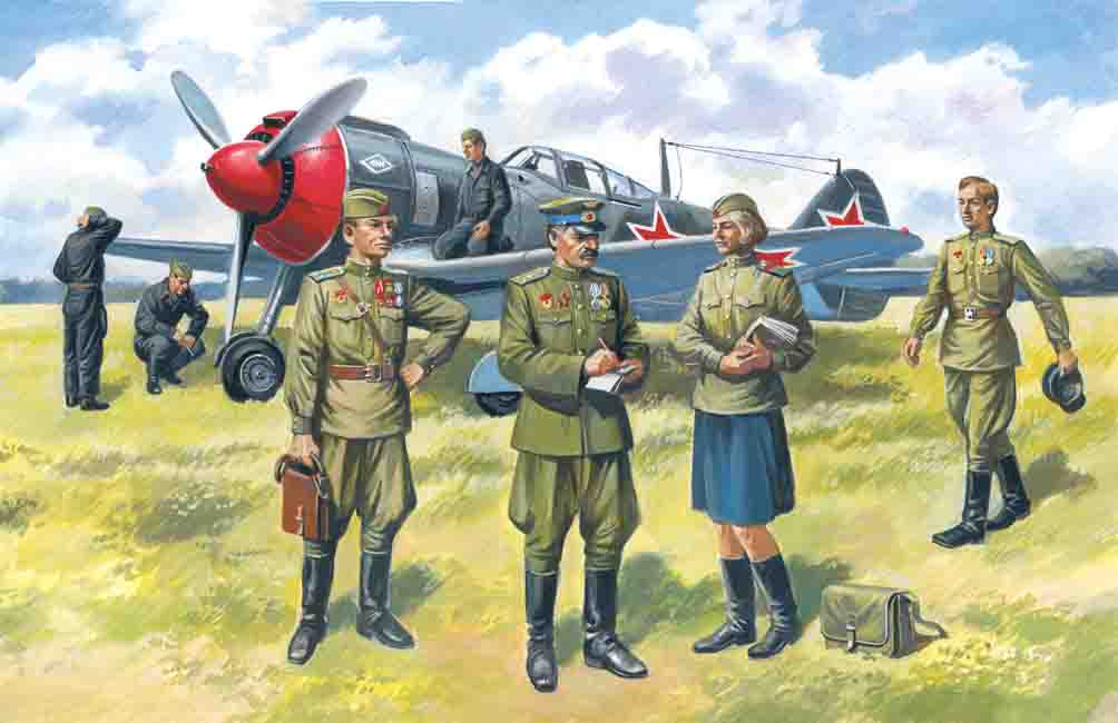 ICM Soviet Air Force Pilots and Ground Personnel (1943-1945)  (7 figures -  staff officer, 2 pilots, 3 mechanics, military servicewomen)