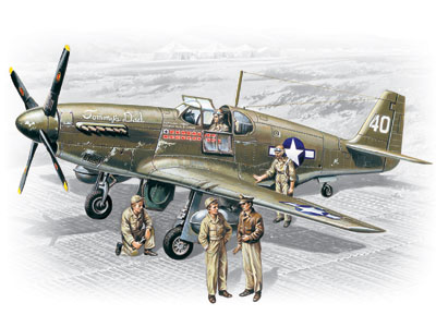 ICM Mustang P-51B with USAAF Pilots and Ground Personnel