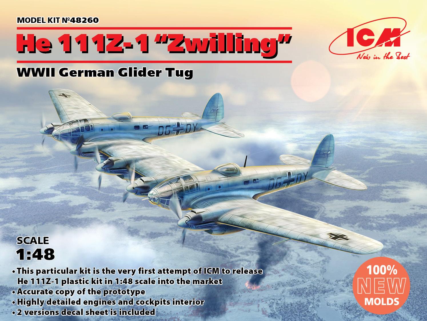 """ICM He 111Z-1 """"Zwilling"""", WWII German Glider Tug"""