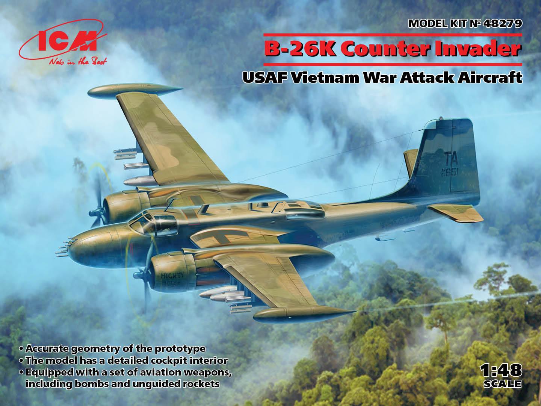 ICM 1/48 B-26K Counter Invader, USAF Vietnam War Attack Aircraft