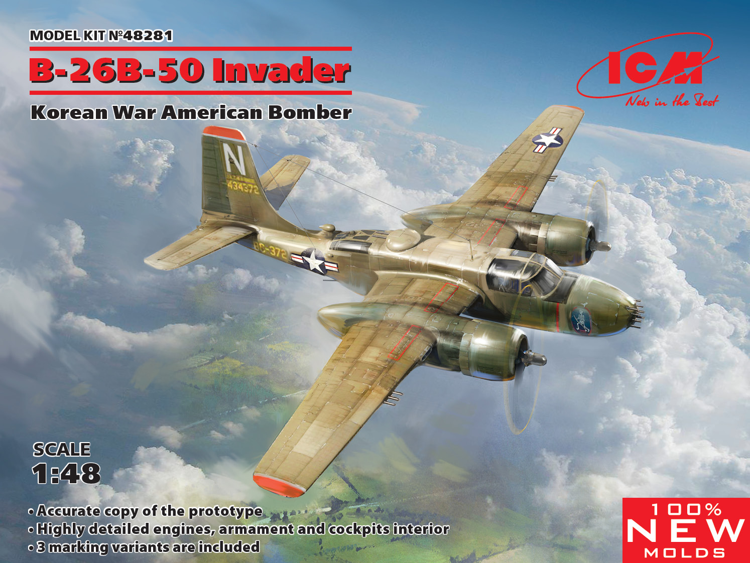 ICM B-26B-50 Invader, Korean War American Bomber (100% new molds)