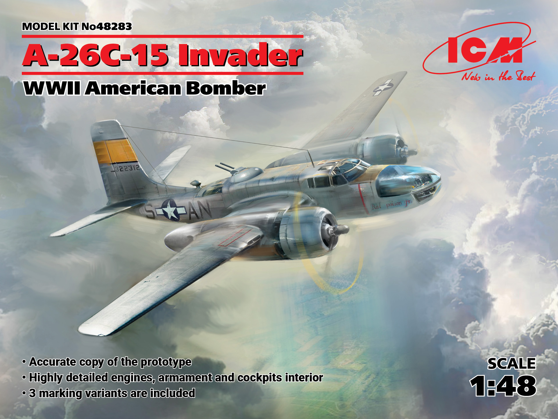ICM A-26C-15 Invader, WWII American Bomber